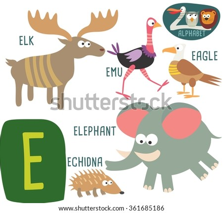 animals that start with the letter e cute children zoo alphabet m letter stock vector 491882896 1077