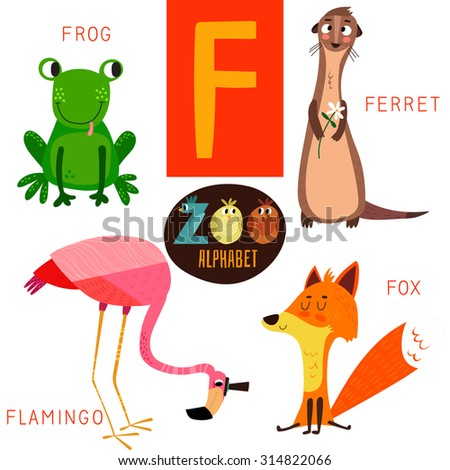 Cute zoo alphabet in vector.F letter. Funny cartoon animals: Frog,ferret,flamingo,fox . Alphabet design in a colorful style. - stock vector