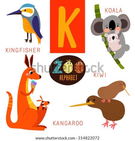 cute zoo alphabet vectork letter funny stock vector 314822072