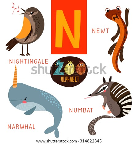 animals that start with the letter n zoo alphabet vector n letter stock vector 20459 | stock vector cute zoo alphabet in vector n letter funny cartoon animals nightingale newt narwhal numbat 314822345