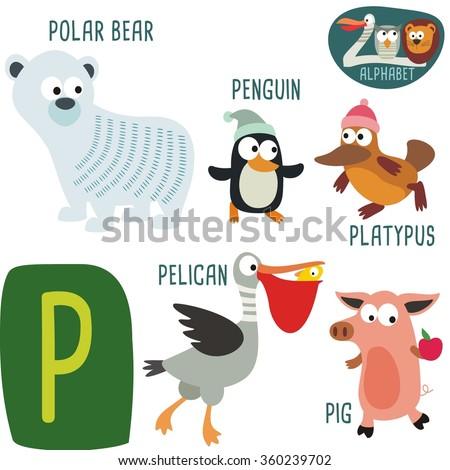 Cute zoo alphabet in vector. P letter. Funny cartoon animals: Polar bear, Penguin, Pelican, Platypus, Pig. Alphabet design in a colorful style.  - stock vector