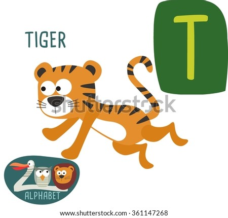 T Letter For Tiger Funny Cartoon Animals Alphabet