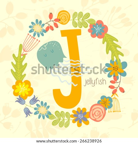 Cute Zoo alphabet, Jellyfish with letter J and floral wreath in vector.  - stock vector