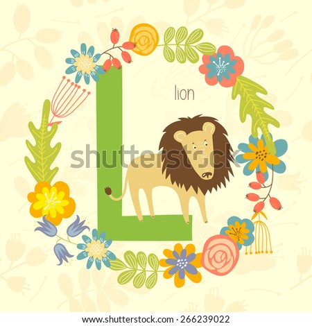 Cute Zoo alphabet, Lion with letter L and floral wreath in vector.  - stock vector
