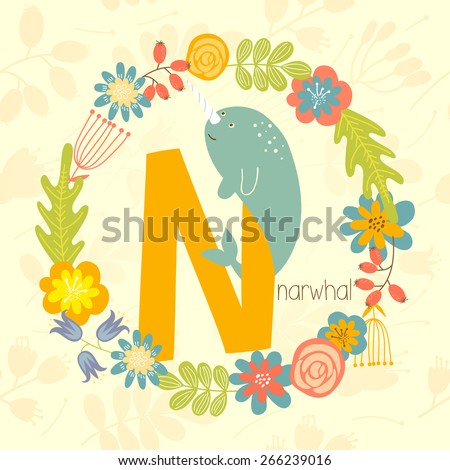 Cute Zoo alphabet, Narwhal with letter N and floral wreath in vector.  - stock vector