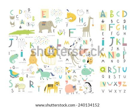 Cute zoo alphabet with funny animals in vector . Letters. Learn to read. Isolated. - stock vector