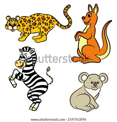 Cute zoo animals collection. Vector illustration. - stock vector