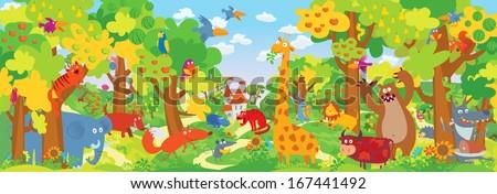 Cute zoo animals. Vector illustration - stock vector