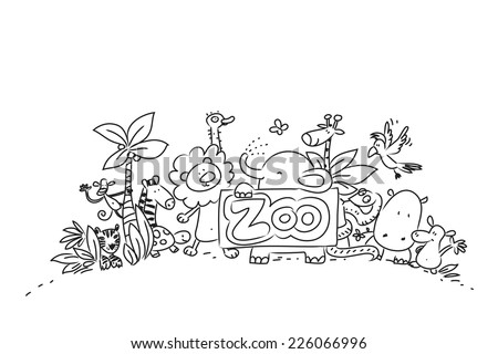 Cute Zoo animals vector illustration, line art hand drawing - stock vector