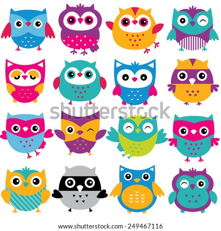 cutesy owls clip art set - stock vector