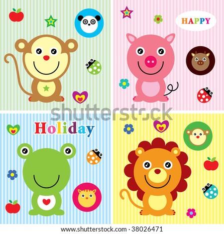 cutie animals greeting - stock vector