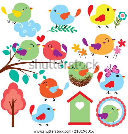 cutie birds clip art set - stock vector