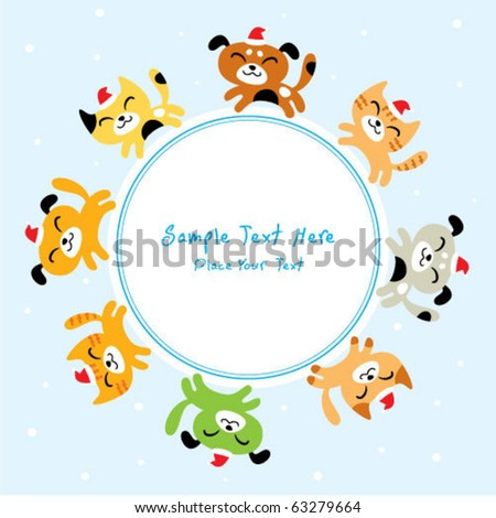cutie kitten and puppy merry go round in christmas day - stock vector
