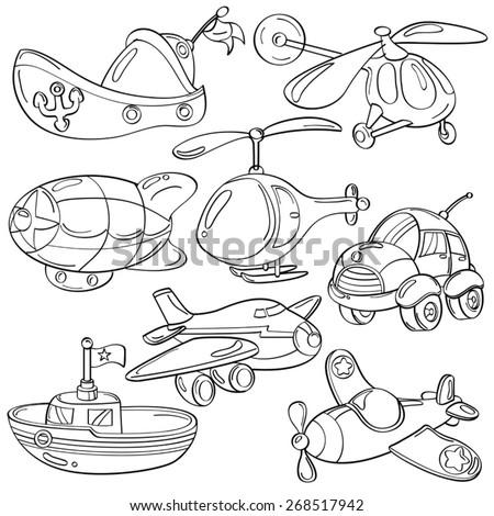 Cutie Transportation Toys - stock vector