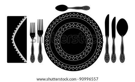 Cutlery and etiquette - stock vector