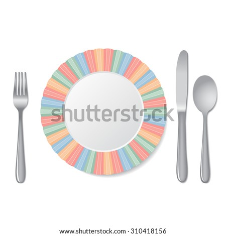 Cutlery and plate isolated on a white background. Vector illustration