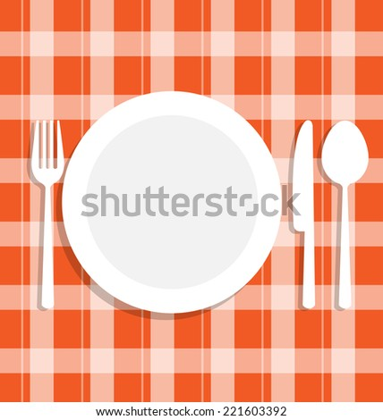 Cutlery dish on orange tablecloth