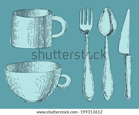 cutlery, fork, knife and spoon, cup vintage engraved illustration, hand drawn, sketch - stock vector