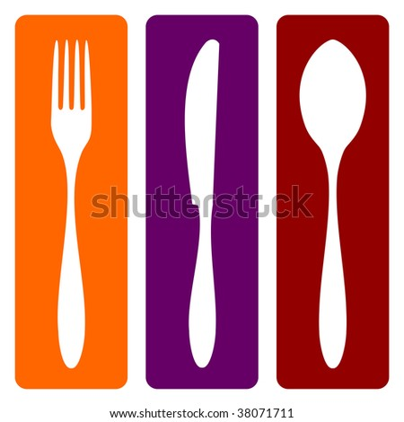 Cutlery icons. Fork, knife and spoon silhouettes on different backgrounds.