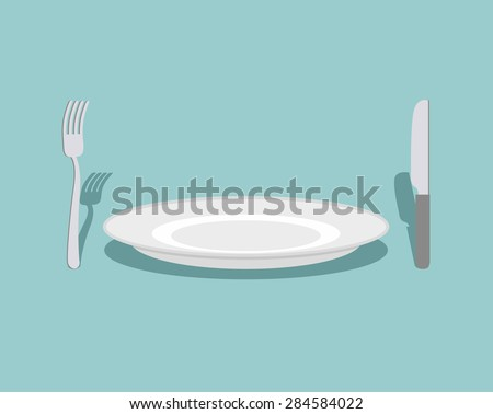 Cutlery: knife and fork, plate. On a green background. Rule table. Vector illustration