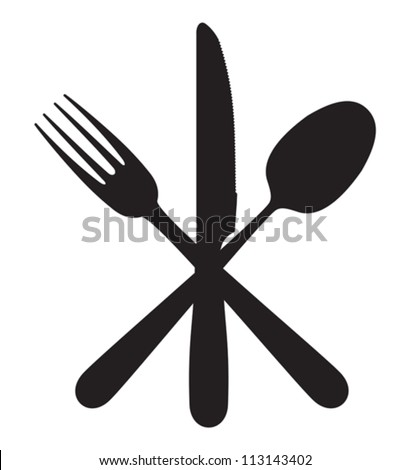 Cutlery - knife, fork and spoon - stock vector