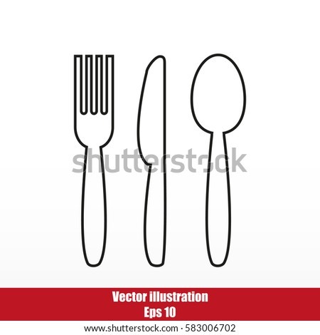 Cutlery - knife, fork and spoon vector icon