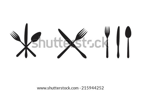 Cutlery: knife, fork, spoon. Vector icon set. Restaurant or menu design elements.  - stock vector
