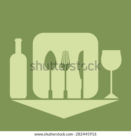 Cutlery on a green background