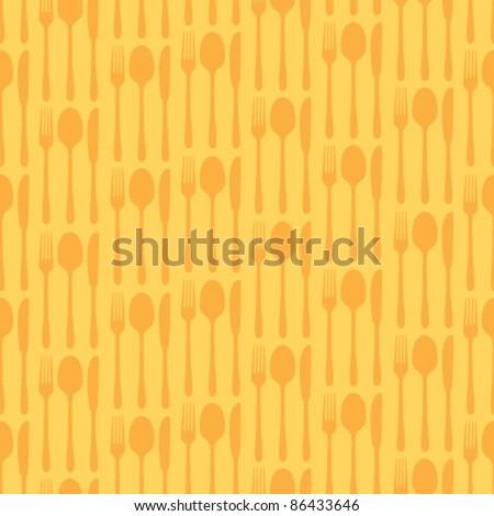 cutlery orange seamless pattern - stock vector