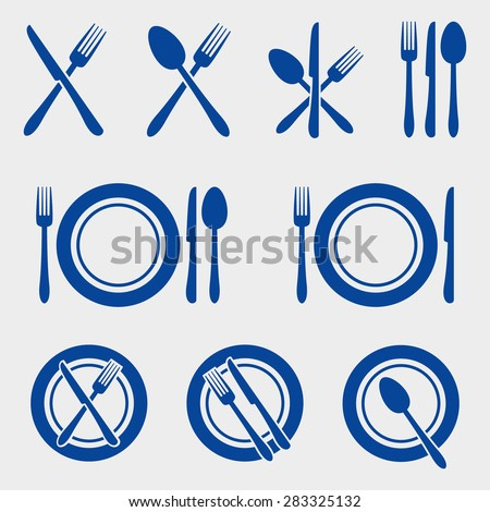 Cutlery Restaurant Icons Set - stock vector