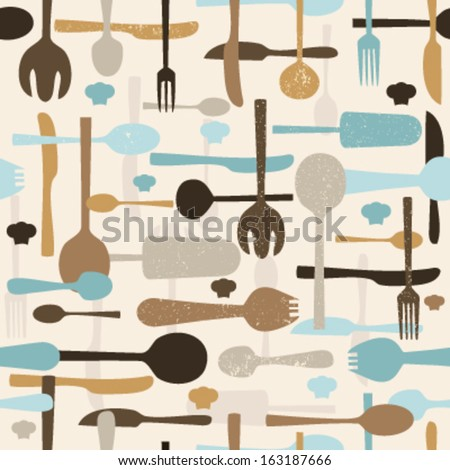Cutlery seamless pattern background. Vector - stock vector