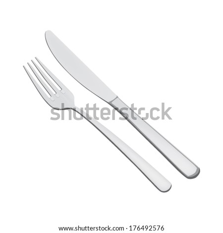 Cutlery set - fork and knife - vector - stock vector