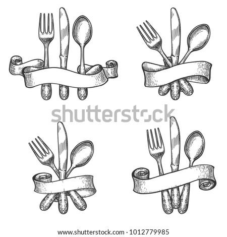 Cutlery Sketch Vintage Dinner Table Silverware Stock Vector ...