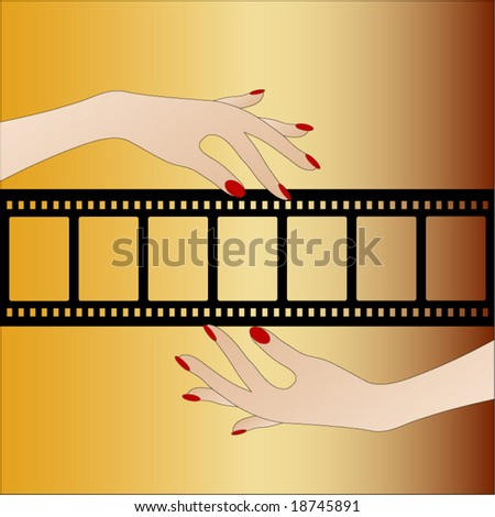 cutout filmstrip with hands - layer over your pictures - stock vector