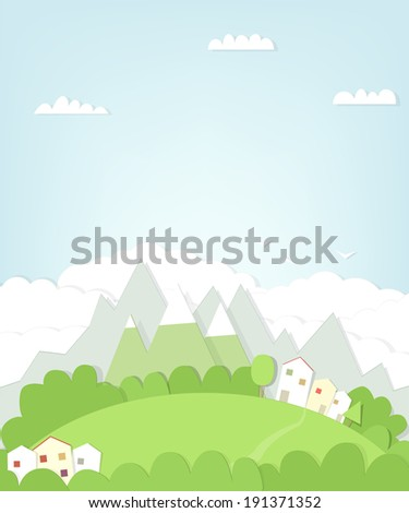 cutout mountain landscape with house - stock vector