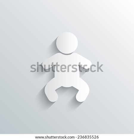 Cutout paper background. Baby infant sign icon. Toddler boy in pajamas or crawlers body symbol. Child WC toilet. White poster with icon. Vector - stock vector