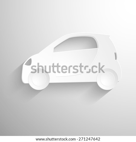 Cutout paper background. Car sign icon. Hatchback symbol. Transport. White poster with icon. Vector Eps 10 - stock vector