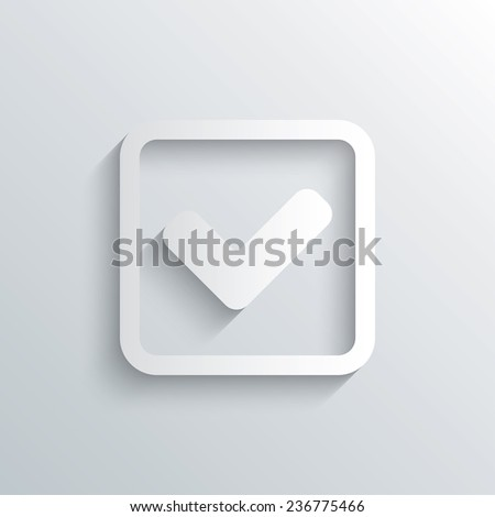 Cutout paper background. Check mark sign icon. Yes square symbol. Confirm approved. White poster with icon. Vector - stock vector
