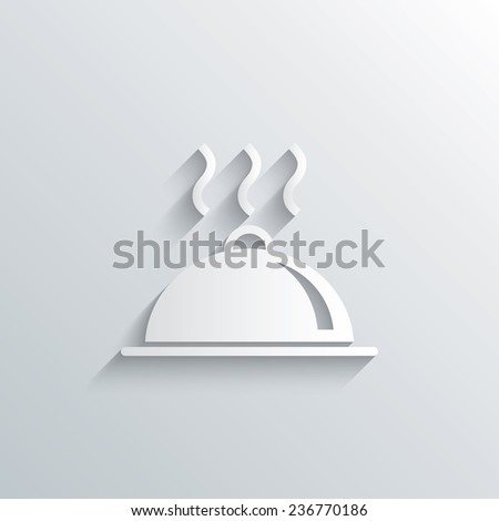 Cutout paper background. Food platter serving sign icon. Table setting in restaurant symbol. Hot warm meal. White poster with icon. Vector - stock vector