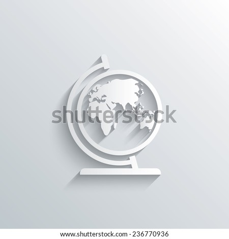 Cutout paper background. Globe sign icon. World map geography symbol. Globe on stand for studying. White poster with icon. Vector - stock vector