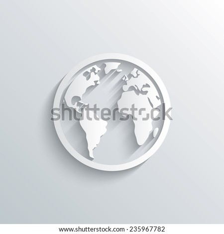 Cutout paper background. Globe sign icon. World map geography symbol. White poster with icon. Vector - stock vector