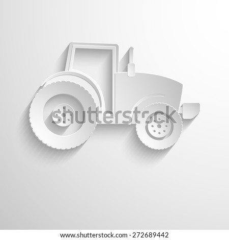 Cutout paper background. Tractor sign icon. Agricultural industry symbol. White poster with icon. Vector eps 10 - stock vector