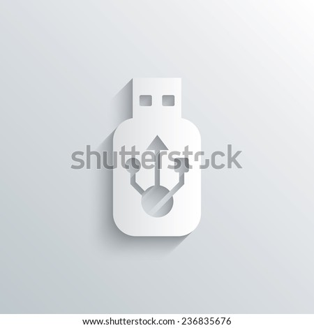 Cutout paper background. Usb sign icon. Usb flash drive stick symbol. White poster with icon. Vector - stock vector