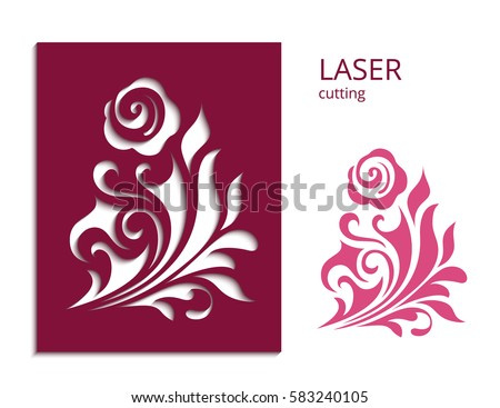 Cutout paper flower vector rose silhouette stock vector royalty cutout paper flower vector rose silhouette decorative floral element for laser cutting or wood mightylinksfo