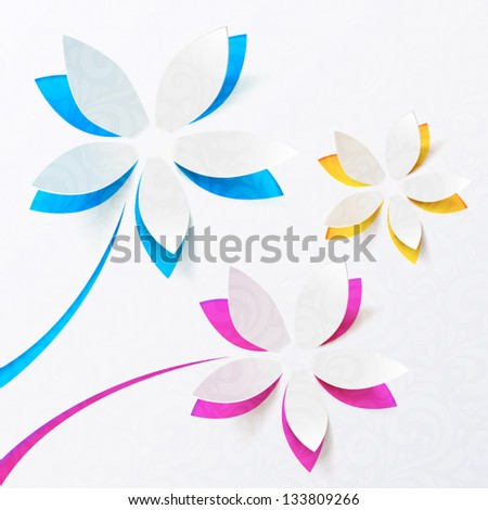 Cutout paper flowers vector greeting card - stock vector