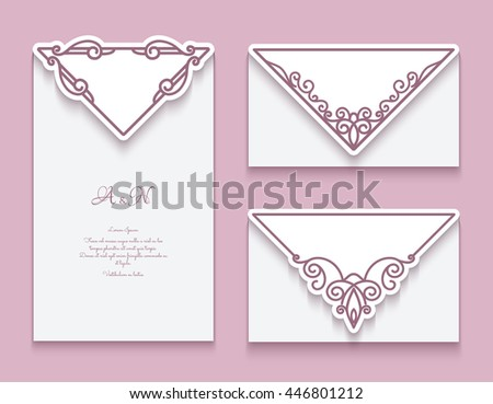 Cutout paper frames, set of decorative envelopes with corner ornaments, vector greeting card or wedding invitation templates, eps10 - stock vector