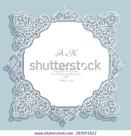 Cutout paper lace, square frame, greeting card or wedding invitation template, vector illustration - stock vector
