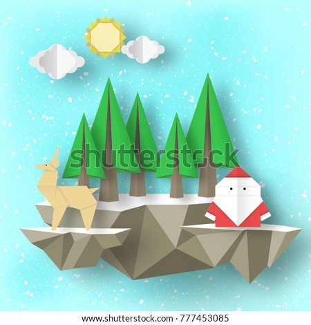 Cutout Papercut Santa Claus Deer Tree On 3D Polygonal Soaring Islands Paper Origami Christmas