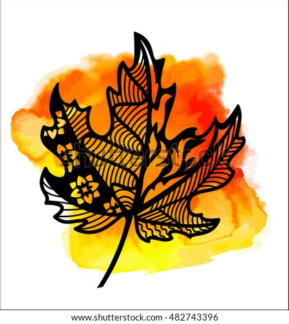 Autumn maple leaf on watercolor blot lace leaf for paper cutting