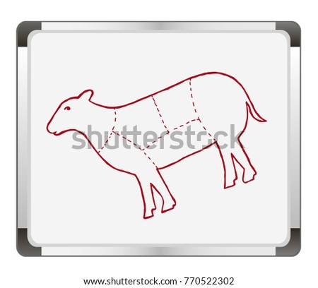 Cuts Of Lamb On Flip Chart Background Meat Diagram And Scheme
